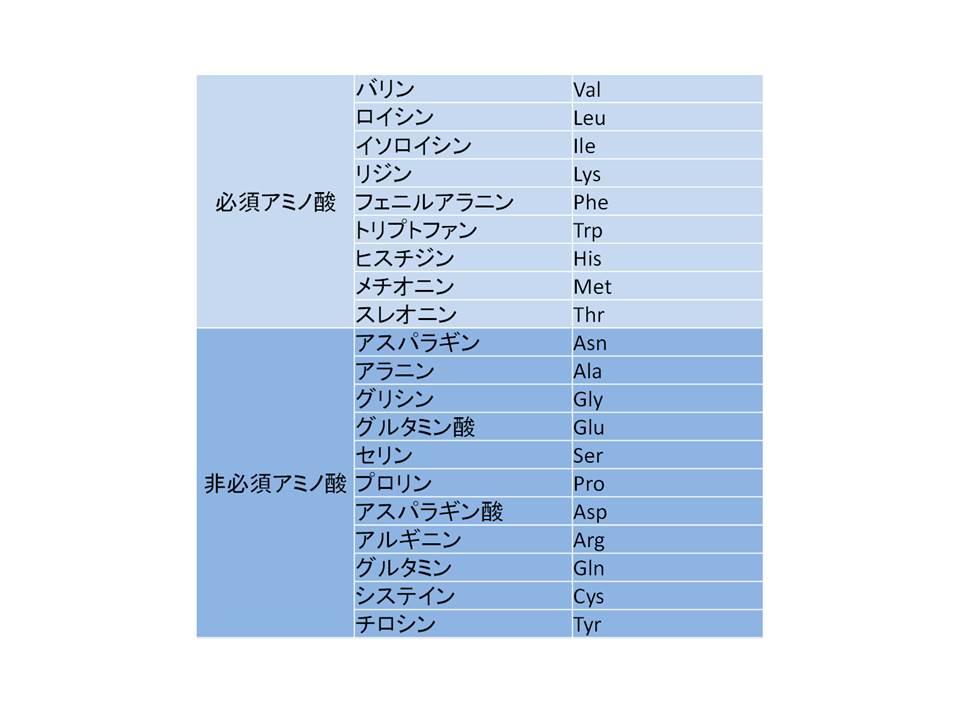 表3 たんぱく質の生成のために必要なアミノ酸(20種類)